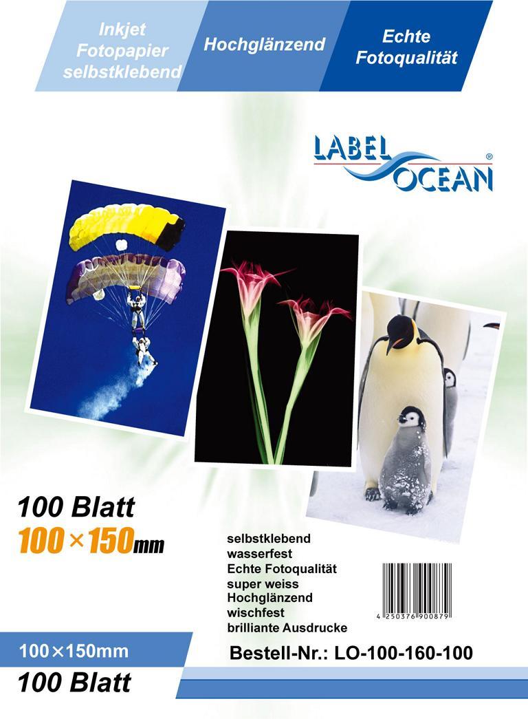 100 Bl. 10x15 Fotopapier selbstklebend HighGlossy+wasserfest von LabelOcean
