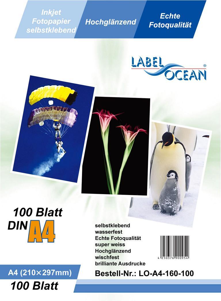 100 Bl. A4 Fotopapier selbstklebend HGlossy+wasserfest von LabelOcean (R)