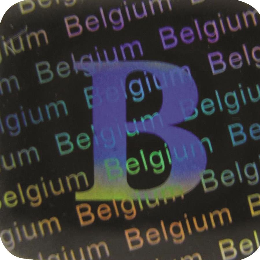 3D Hologramm Siegel Belgien, 12x12mm, Garantiesiegel, Sicherheitsetikett