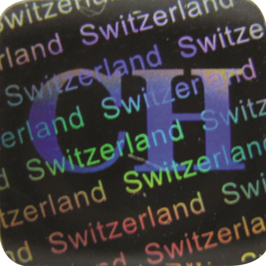 3D Hologramm Siegel Schweiz, 12x12mm, Garantiesiegel, Sicherheitsetikett