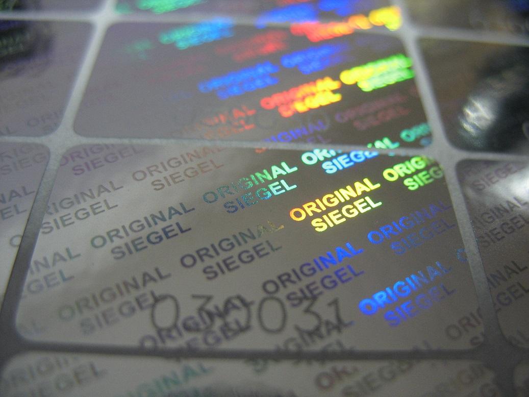 Hologramm-Aufkleber Siegel Nummer, 17x30mm, Garantiesiegel, Sicherheitsetikett