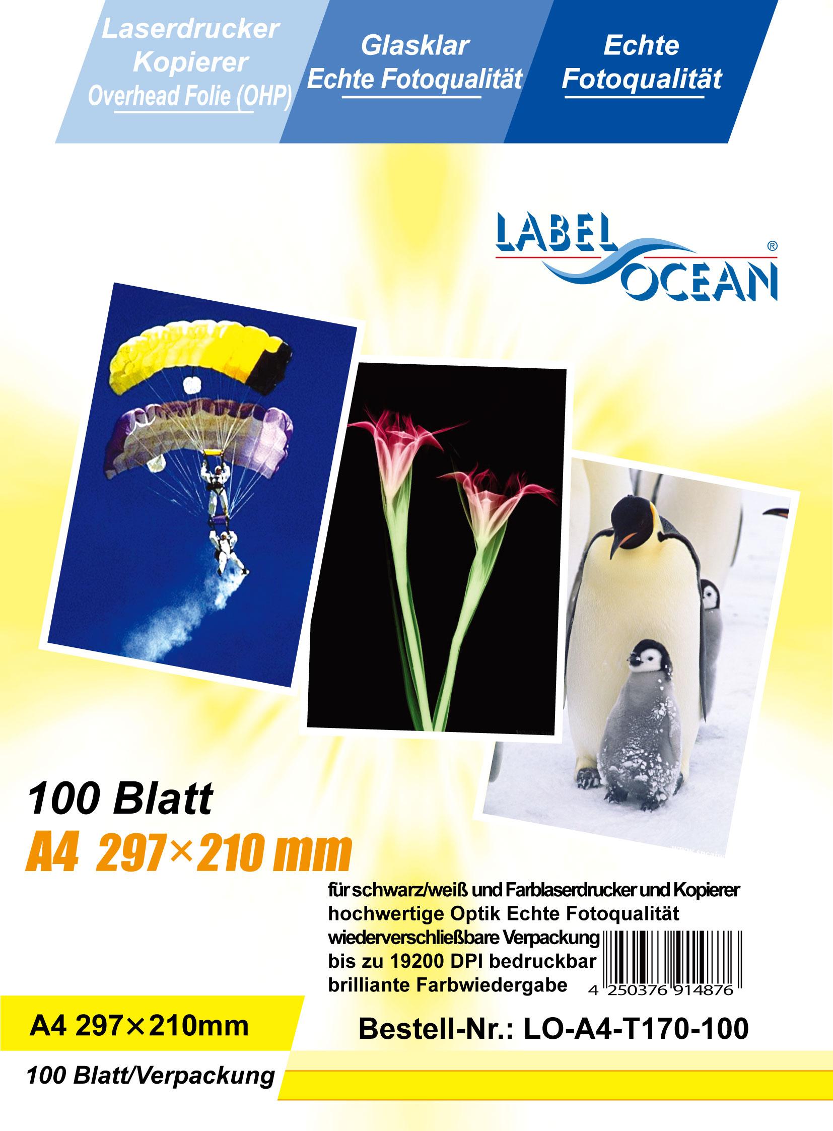 100 Bl.A4 Overheadfolien Overhead OHP Folie Laserdrucker von LabelOcean