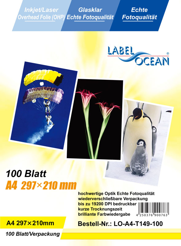 100 Bl.A4 Overheadfolien Overhead OHP Folie InkJet/Laserdrucker von LabelOcean