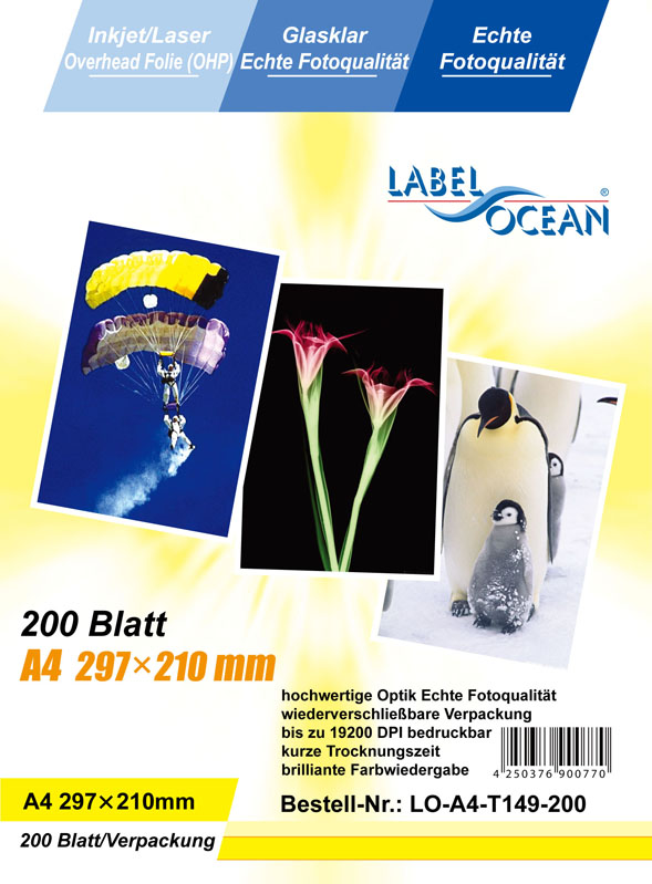 200 Bl. A4 Overheadfolie Overhead OHP Folie InkJet/Laserdrucker von LabelOcean