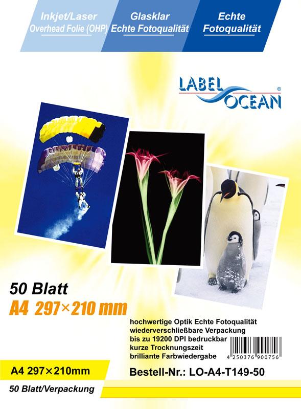 50 Bl.A4 Overheadfolien Overhead OHP Folien InkJet/Laserdrucker  von LabelOcean