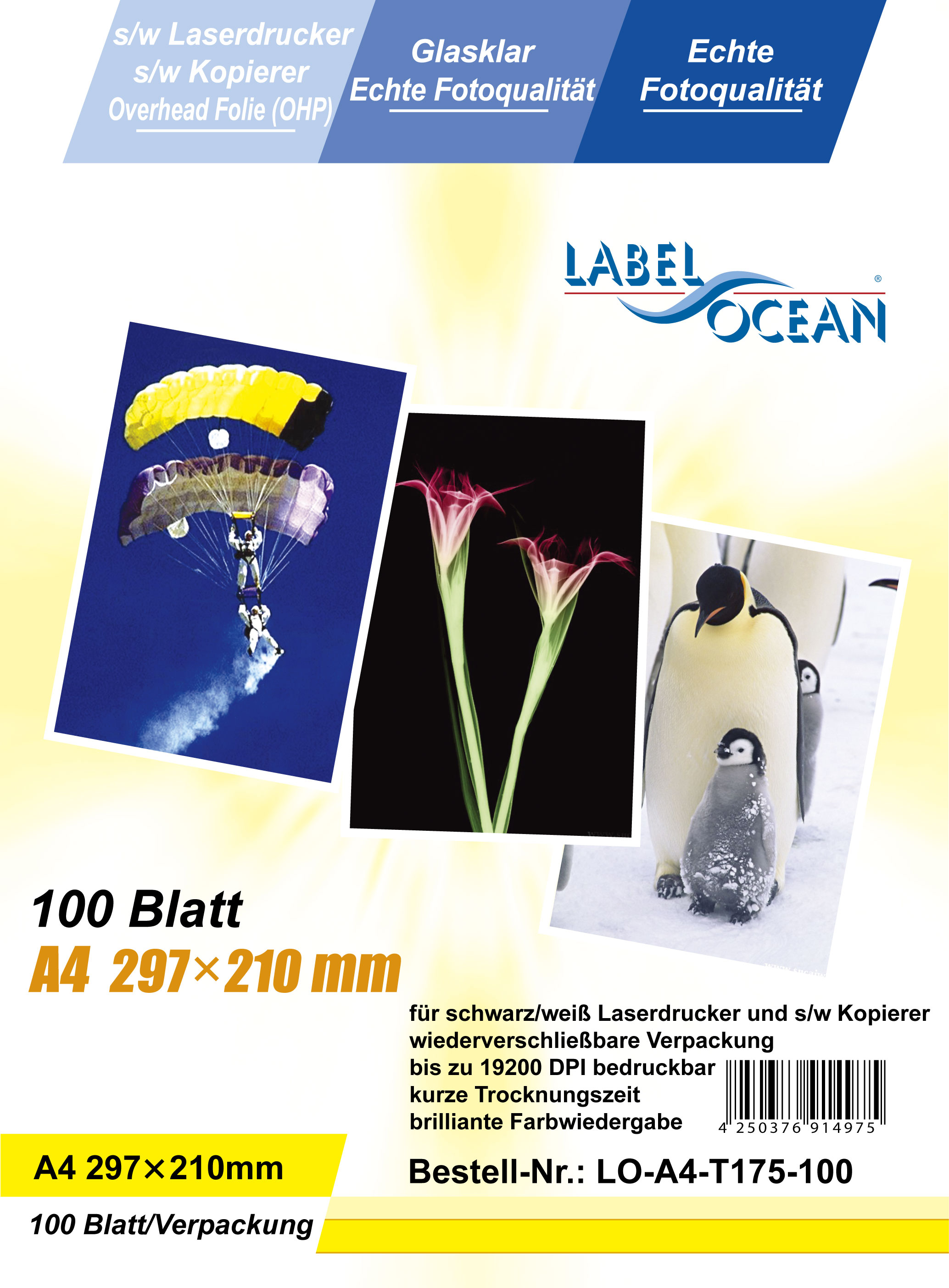 100 Bl.A4 Overheadfolien Overhead OHP Folie für s/w Laserdrucker von LabelOcean